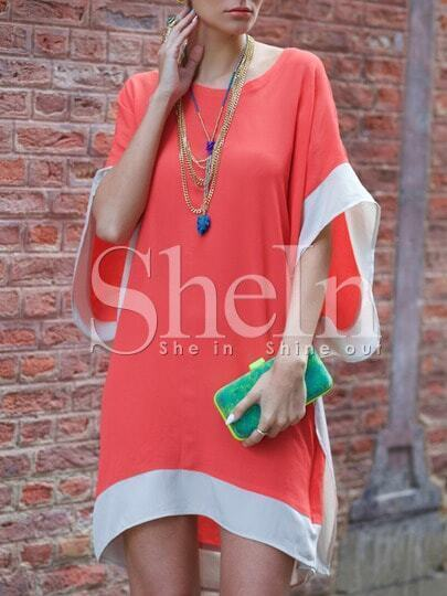 Orange Batwing Sleeve Color Block Dress pictures