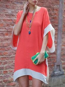 Orange Batwing Sleeve Color Block Dress
