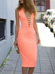 Neon Pink Sleeveless Deep V Neck Hollow Wiggle Dress