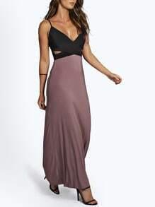 Black Reverse Cocktails Spaghetti Strap Cut Out Color Block Maxi Dress