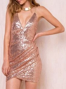 Gold Slip Spaghetti Strap Glitzy Deep V Neck Sequined Glittering Bodycon Dress