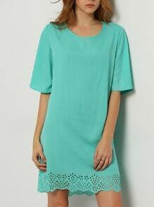 Green Aqua Half Sleeve Hollow Dress