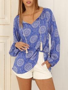 Blue Long Sleeve Vintage Print Blouse