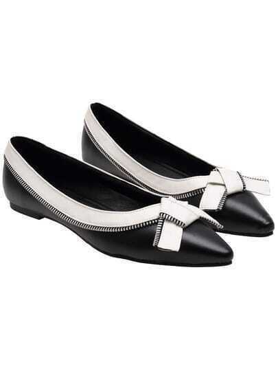 Black White Zipper Point Toe Flats