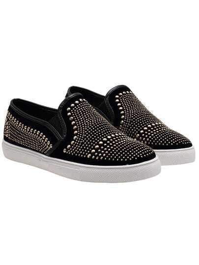 Black Thick-soled Bead Casual Flats