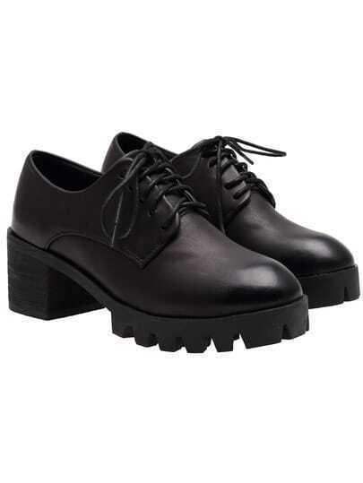 Black Chunky Heel PU Pumps