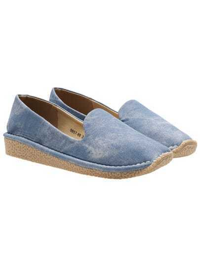 Blue Casual Thick-soled Flats