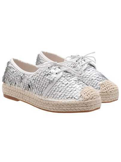White Stars Sequined Casual Flats