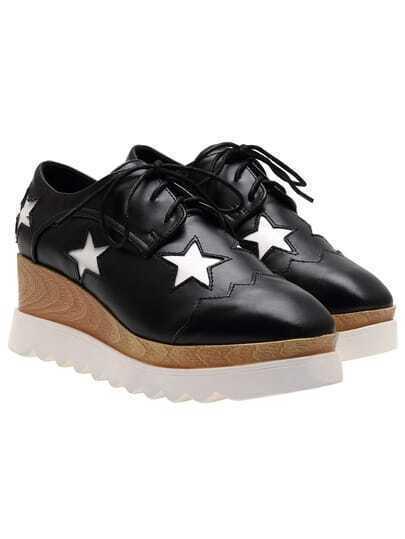 Black Stars Pattern PU Flats