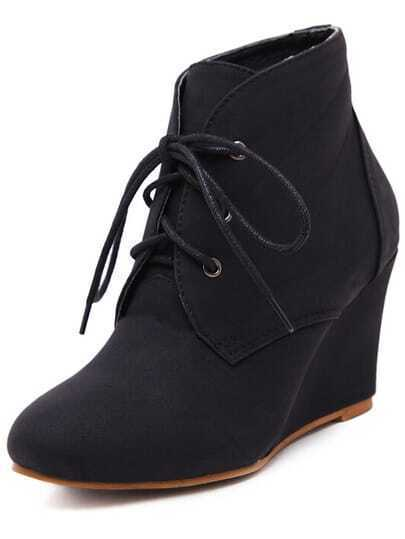 Black Corrected Grain Leather Casual Boots