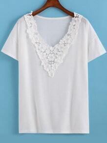White V Neck Floral Crochet Loose T-Shirt