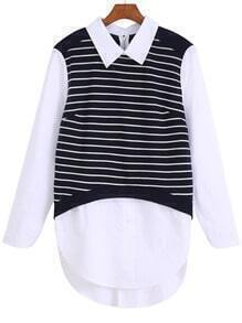 Navy White Lapel Striped Dip Hem Blouse