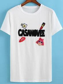 White Round Neck CASANOVEE Embroidered T-Shirt