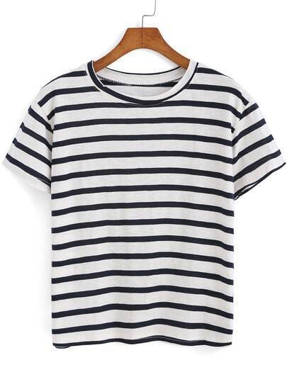 Navy White Round Neck Striped Loose T-Shirt