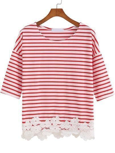 Red White Half Sleeve Striped Floral Crochet T-Shirts