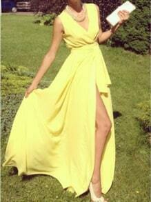 Yellow V Neck Split Chiffon Maxi Dress