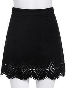Black Hollow A Line Skirt