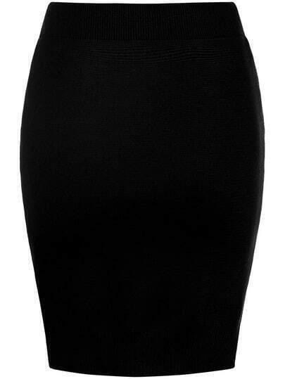 Black Slim Split Bodycon Skirt