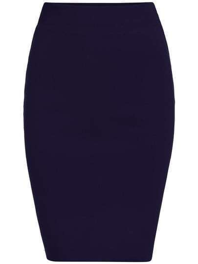 Blue Slim Split Bodycon Skirt