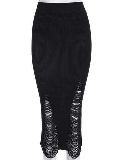 Black Slim Ripped Knit Skirt