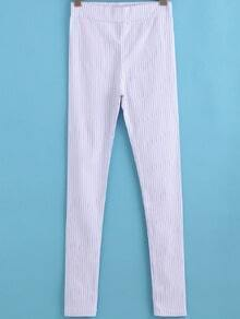 White Vertical Stripe Skinny Pant