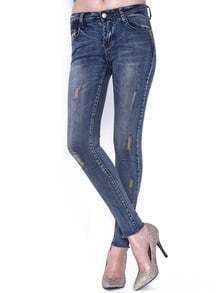 Blue Ripped Elastic Denim Pant