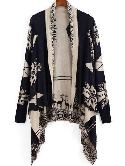 Navy Long Sleeve Deer Print Cardigan