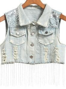 Blue Lapel Tassel Sequined Vest
