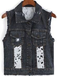 Black Lapel Ripped Floral Crochet Vest