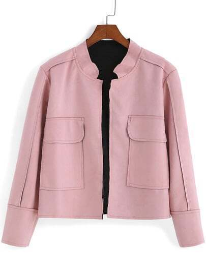 Pink Stand Collar Pockets Casual Crop Coat