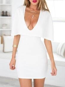 White Deep V Neck Cape Dress