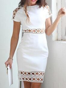 White Short Sleeve Geometric Hollow Dress