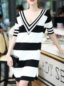 Black And White Deep V Neck Striped Knit Dress