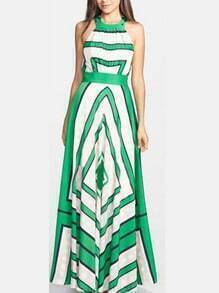 Green Halter Self-Tie Striped Maxi Dress