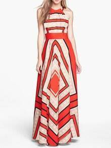 Red Halter Self-Tie Striped Maxi Dress