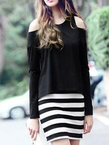 Black Open Shoulder Striped Combo Dress