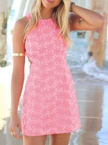 Pink Sleeveless Flower Print Bodycon Dress