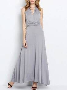 Grey Georgette Surplice Deep V Neck Self-Tie Maxi Dress