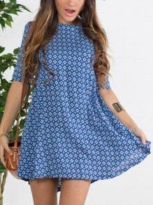 Blue House Textured Half Sleeve Floral Spotted Houndstooth Print Dress