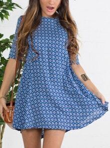 Blue House Textured Half Sleeve Floral Spotted Houndstooth Print Dress Forties Poka Clothes