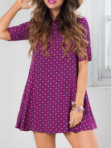 Purple Half Sleeve Floral Print Dress