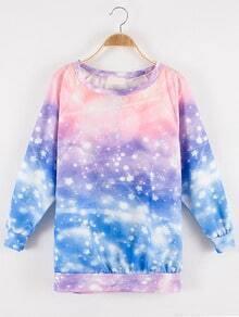 Multicolor Star Print Tie-dye Sweatshirt