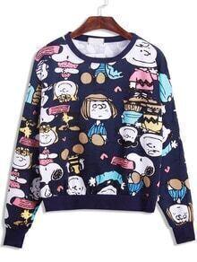 Royal Blue Cartoon Print Sweatshirt
