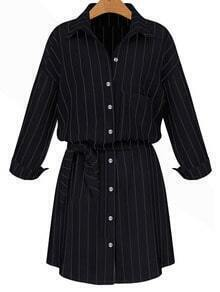 Black Lapel Vertical Striped Self-Tie Blouse