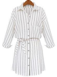 White Lapel Vertical Striped Self-Tie Blouse