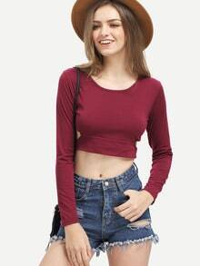 Wine Red Cut Out Crop T-Shirt