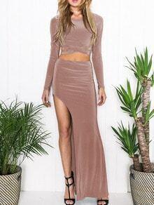 Khaki Side Hollow Crop Top With Asymmetrical Skirt