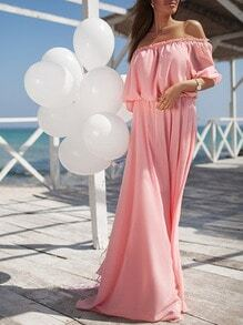 Pink Half Sleeve Off The Shoulder Maxi Dress