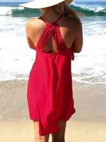 Red Spaghetti strap Crochet Lace Dress