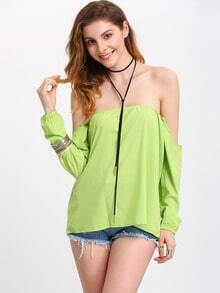 Green Long Sleeve Off The Shoulder Blouse